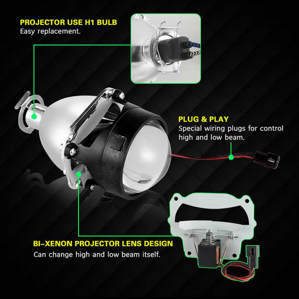 AILEO 2x2.5 pouces Led ange yeux bi-xénon projecteur lentille conduite lumière DRL H4 H7 H11 voiture rénovation style utilisation H1 lumière universelle