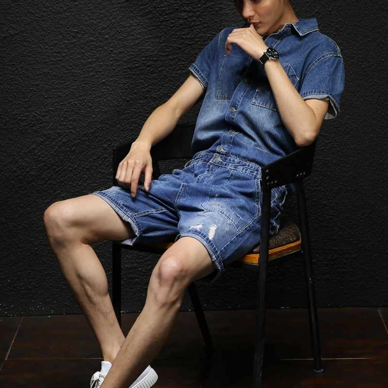 Mens Overalls 2020 Sommer Mode Streetwaer Vintage Knie Länge Calca Masculina Kurzarm Botton Druck Casual Kleidung Männer