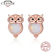 100% 925 sterling silver Owl/Cat Opal Stud Earrings for Girl Cute Animal Rose Gold color Earrings Women Charming ear Jewelry(China)