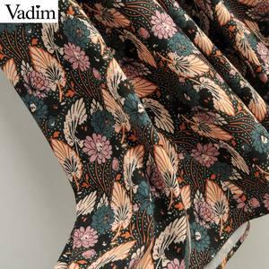 Image 5 - Vadim women retro bow tie collar maxi dress floral pattern short sleeve side zipper female fashion casual dresses vestidos QD088