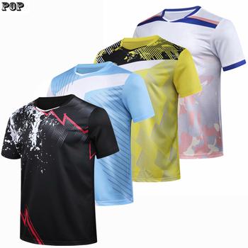 Koszule do badmintona mężczyźni kobiety koszulki tenisowe koszulki do tenisa stołowego sportowe koszulki do biegania tenis stołowy koszulki 2020 Quick dr tanie i dobre opinie TANANSTY Poliester spandex Krótki Anty-pilling Oddychająca Szybkie suche Pasuje prawda na wymiar weź swój normalny rozmiar