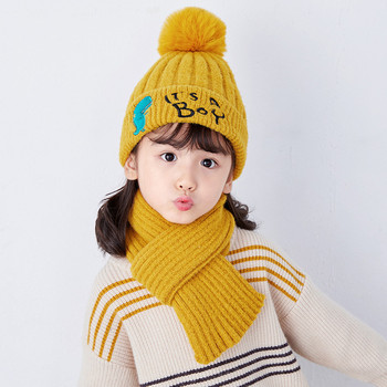 2-6 Years Girlsl Knitted Beanie Hat  Scarf Two Piece Set Solid  Winter Warm  Toddler Children's Ear Protection Hat  Scarves Set 2pcs set baby toddler winter set cartoon wool knitting hat scarf warm set infant toddler girls boy knitted keep warm clothes set
