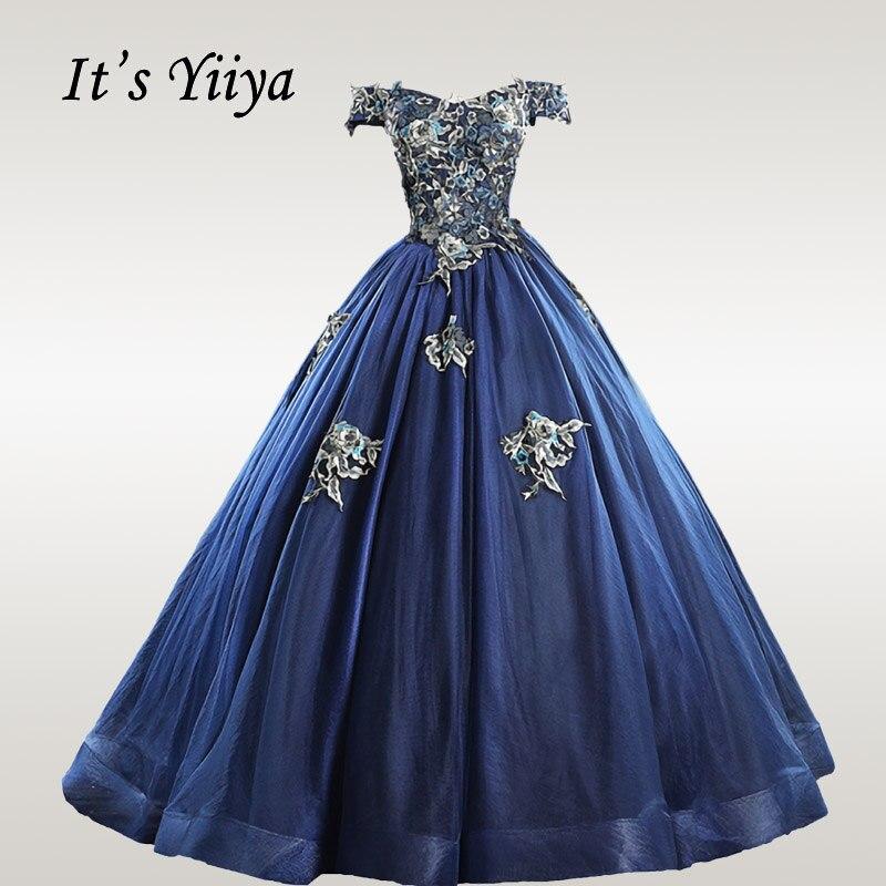 It's YiiYa Wedding Dress Beading Wedding Dresses Elegant Boat Neck Bridal Ball Gowns Plus Size Off Shoulder Robe De Mariee CH123