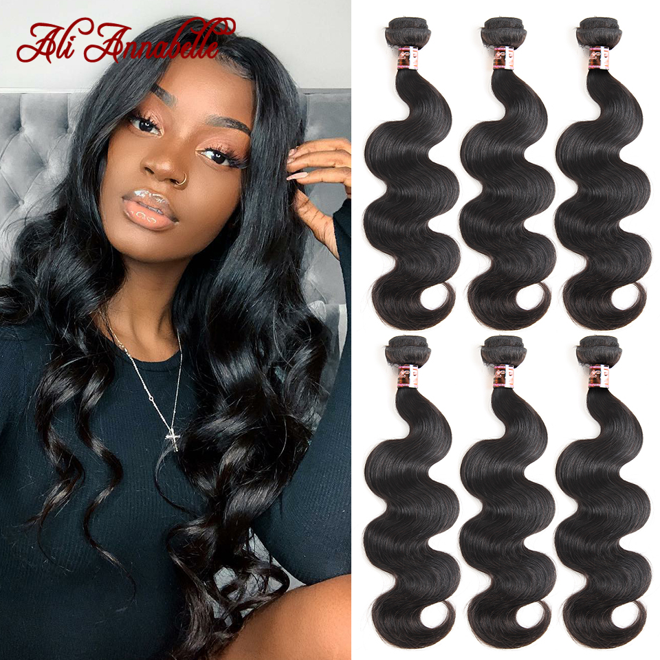 Tissage en lot péruvien naturel Body Wave – ALI ANNABELLE, couleur naturelle, 10-28 pouces, lot de 3