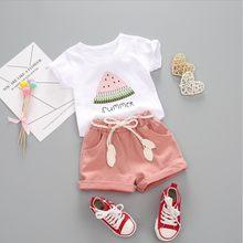 BibiCola-conjunto de ropa de verano para niñas, chándal de 2 uds., traje de algodón para niños, trajes de dibujos animados, conjuntos de ropa de manga corta para bebés