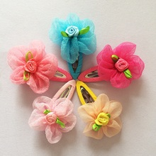 1 Pcs/lot Voile Flower Ornaments Rose Floral Lovely Kids Barrette Hair Jewelry Clip Girls Accessories Hairpins