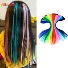 Alileader Лидер продаж, один зажим для волос, 20 дюймов, один зажим для волос, наращивание волос, цветные синтетические клипсы, более прочные прямы...