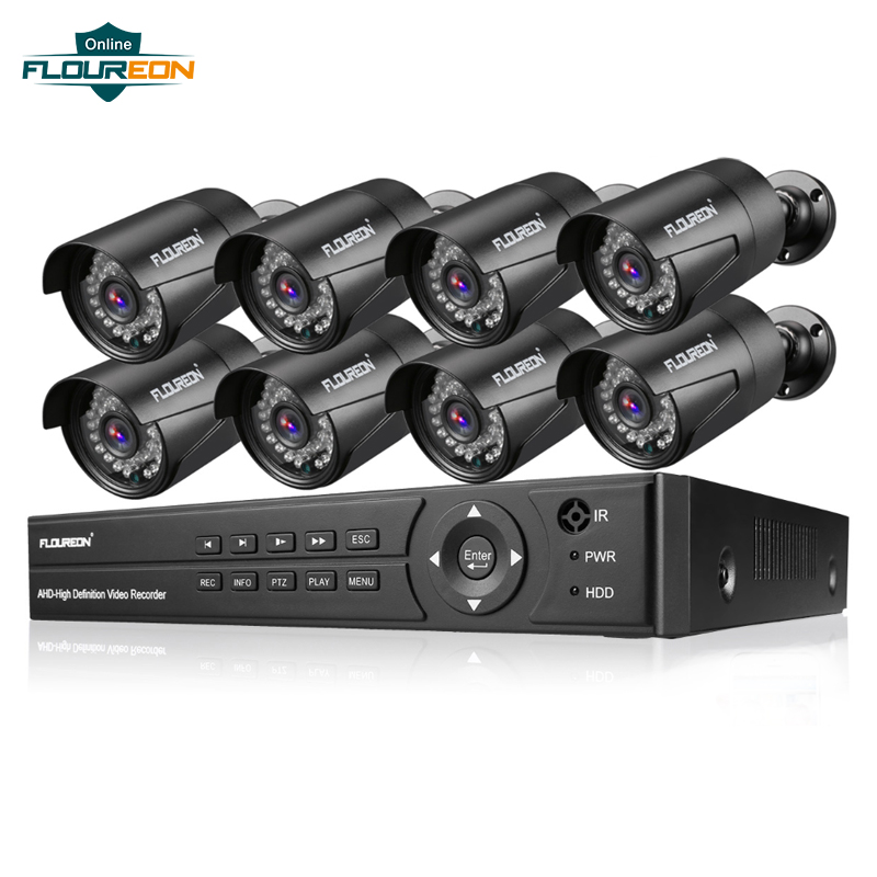 Floureon DVR Kit Video Survaillance 5-IN-1 AHD 1080N DVR + 8 Cameras 2.0MP CCTV Camera System E-mail Alarm Motion Detection