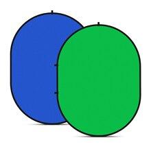 Neewer 2 in 1 Chromakey ירוק Chromakey כחול רקע הרכבה מתקפל הפיך רקע 5x7 רגליים/ 1.5x2 מטרים \
