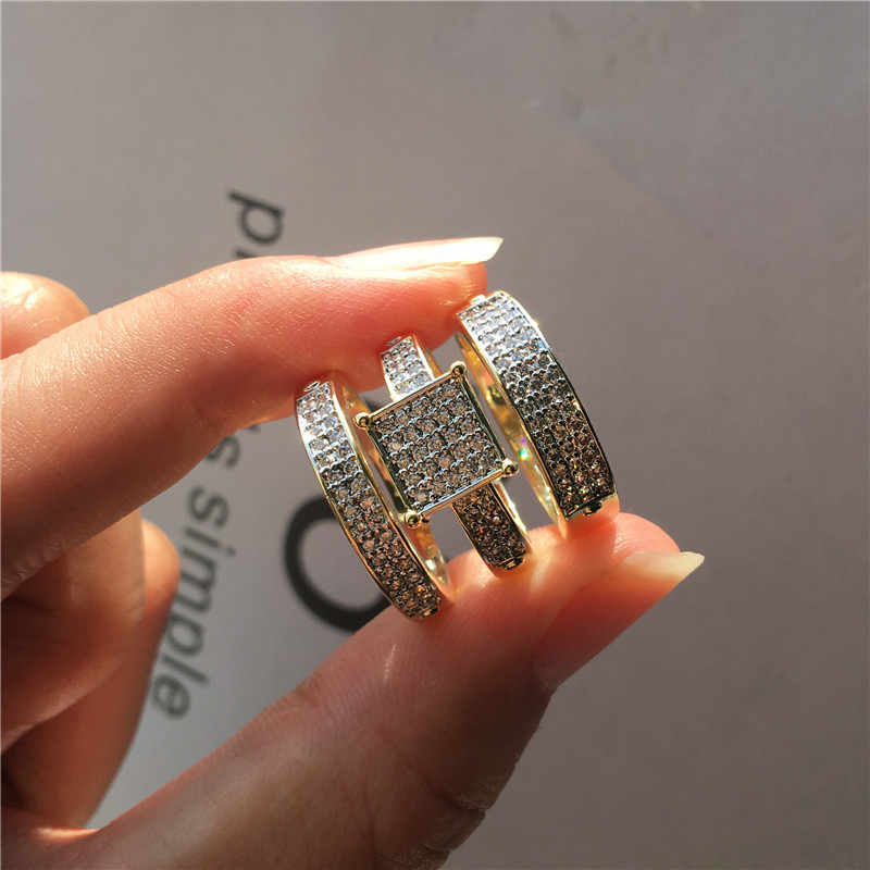 럭셔리 패션 여성 크리스탈 화이트 지르콘 반지 세트 옐로우 골드 결혼 반지 신부 세트 여성을위한 약속 약혼 반지