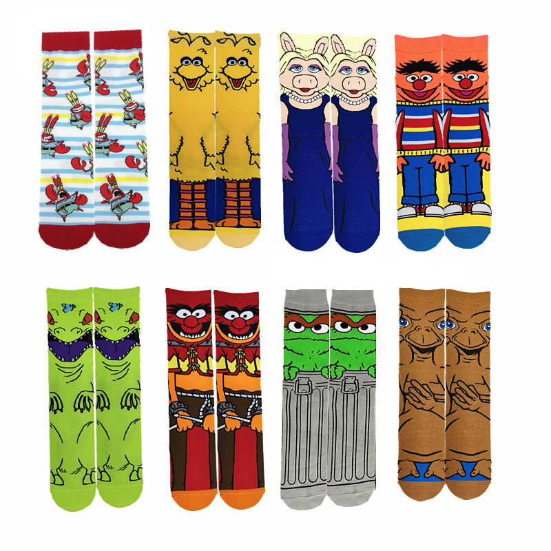 Spring Summer Combed Cotton Deodorant Cartoon Socks Funny Muppet Witcher Anime Happy Sock Slippers Fashion Skateboard Socks