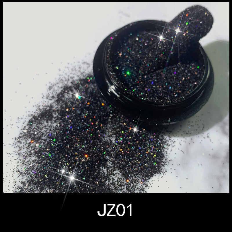 1 個かわいい光沢のある黒ネイルグリッターセットパウダーレーザーキラキラネイルアートクローム顔料銀diyのネイルアートの装飾キットJZ01