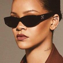 Rihanna gözlük moda yeni küçük Oval kore güneş gözlüğü kadın erkek tasarımcı marka lüks ünlü moda Shades óculos De Sol