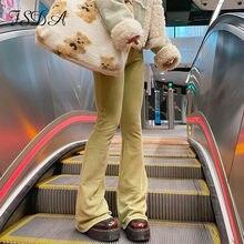 FSDA 2021 wysokiej talii dorywczo spodnie damskie zielone rocznika lato wiosna szerokie nogawki modne niebieskie luźne 90S Streetwear długie