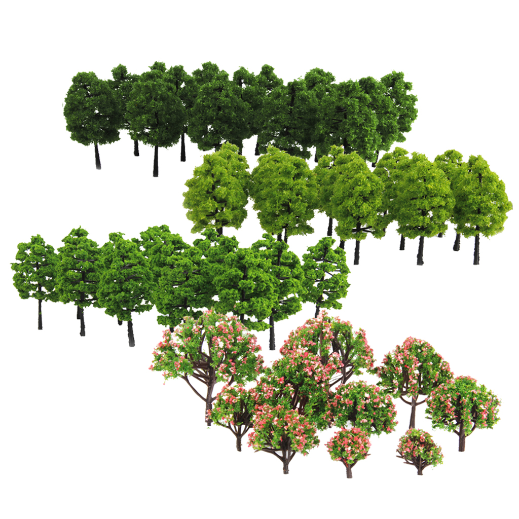 70 Pcs Model 3-9cm Trees Layout Train Railway Diorama Wargame Landscape Scenery HO OO Z TT