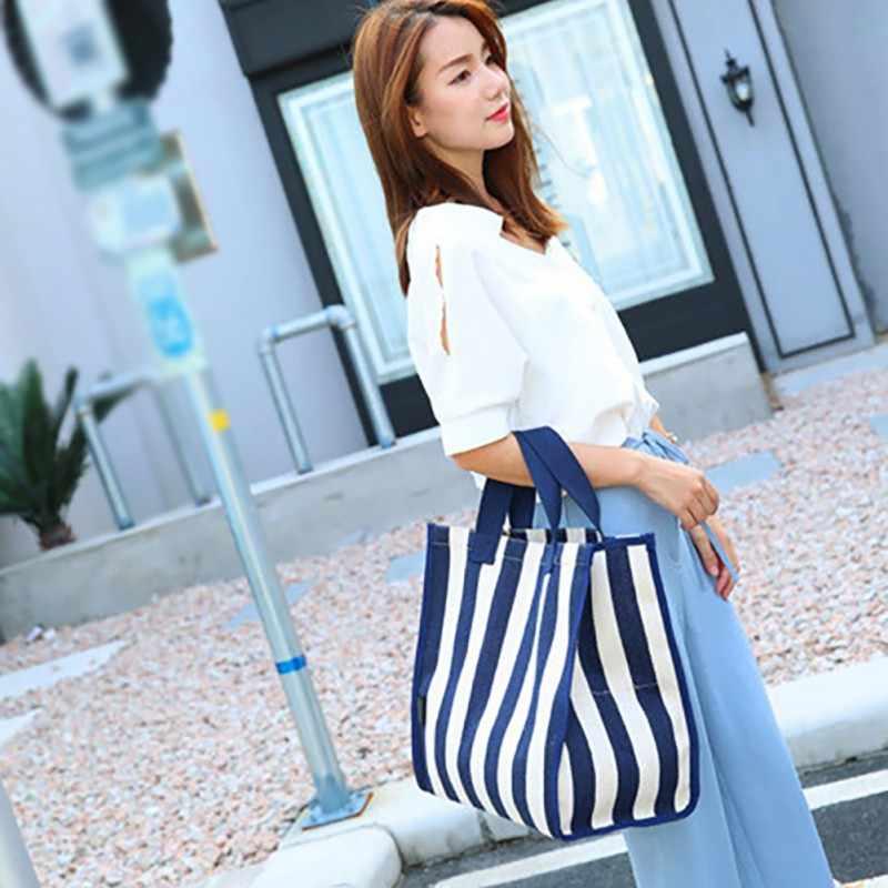 2019 النسخة الكورية من أنيق الحد الأدنى حقيبة قماش قنب الفن الصغيرة الطازجة مخطط حقائب اليد النسائية