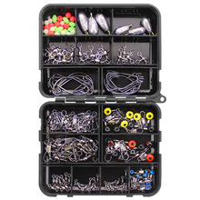 160pcs Fishing Accessories Kit Set With Fishing Tackle Box Including Fishing Sinker Weights Fishing Swivels Snaps Jig Hook Pesca outkit 10pcs lot copper lead sinker weights 10g 7g 5g 3 5g 1 8g sharped bullet copper fishing accessories fishing tackle