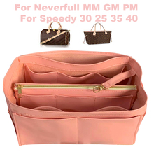 Fits Speedy25 30 35 40 Neverfull MM GM PM Genuine Leather Insert Bag Organizer Purse Tote Cosmetic in