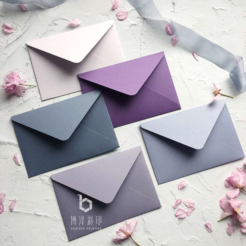 High Quality 5pcs/pack Solid Color Gift Envelopes Purple, Gray European Envelopes For Card Post Card Photo Letter