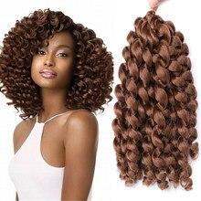 Ombre ürkek değnek kıvırmak tığ saç 20 Strands Jamaican sıçrama kıvırmak sentetik tığ örgü örgü saç uzantıları Afro kadınlar için