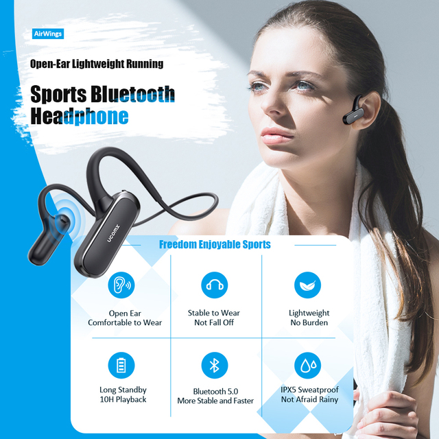 UCOMX G56 Wireless Headphones Open-Ear 5.0 Bluetooth Earphones Built-in Mic Sports Running Headsets for iPhone Huawei Xiaomi