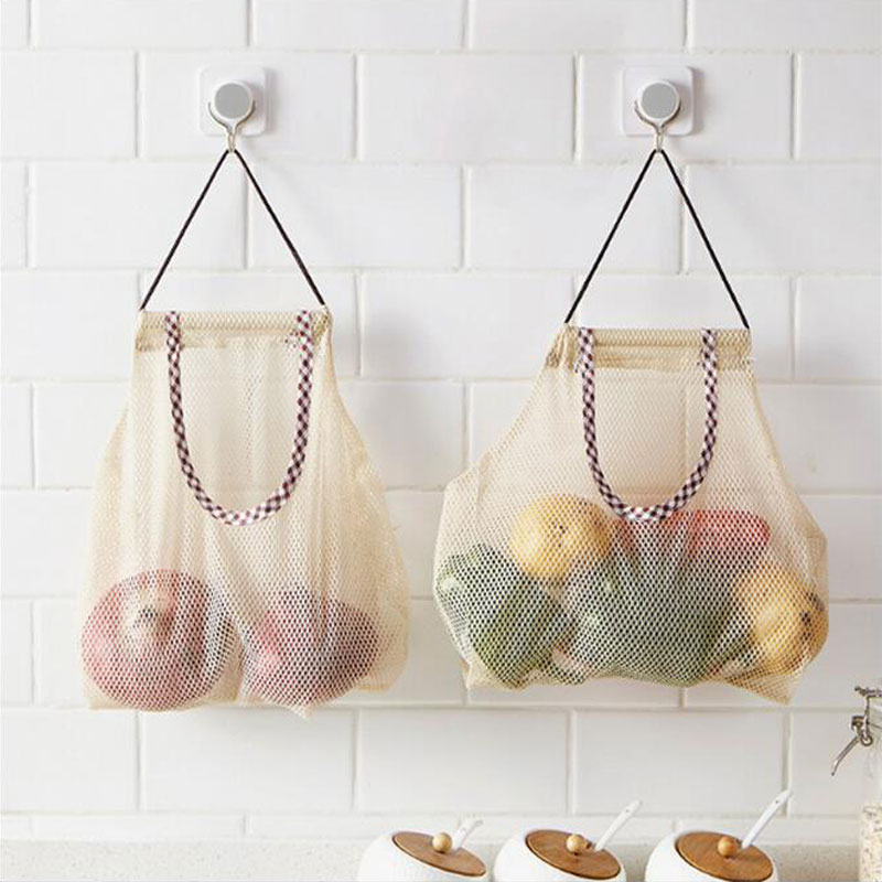 Kitchen Mesh Net Breathable Fruit Vegetable Onion Hanging Storage Bag Large Capacity Fruit Hanging Bag Durable Bathroom Storage
