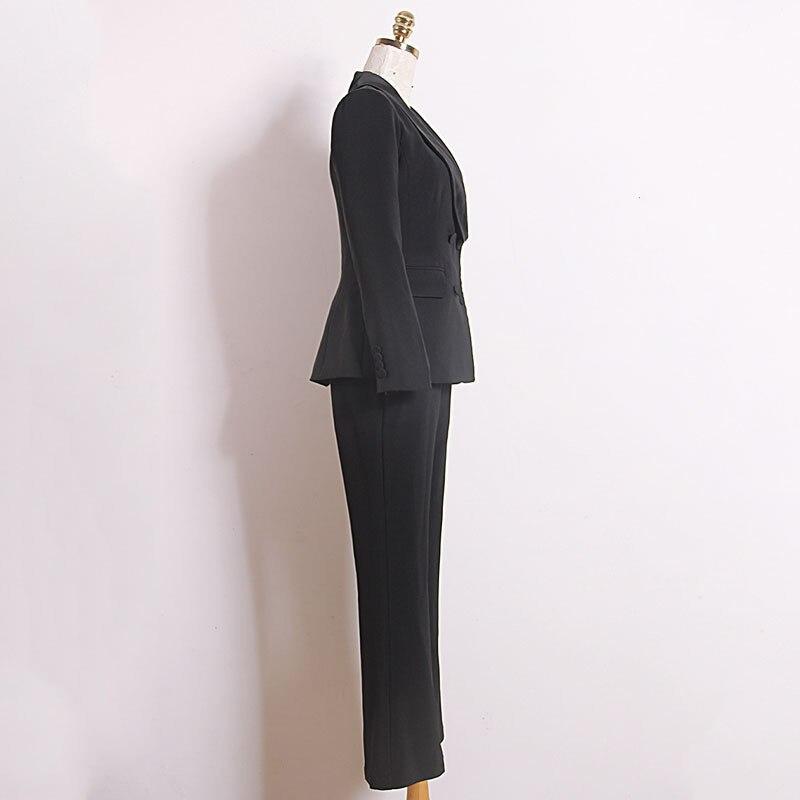 Women's suit fashion slim women's suit two piece suit blazer with slacks trousers women's business casual professional wear set - 3