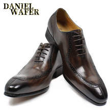 LUXURY LEATHER MEN SHOES CASUAL MEN OFFICE BUSINESS WEDDING SHOE COFFEE BLACK LACE-UP BUCKLE STRAP POINTED OXFORD SHOES FOR MEN
