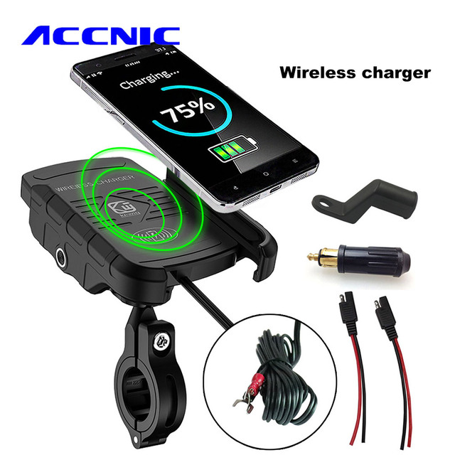 ACCNIC DIN/SAE to USB Charger & Motorcycle Wireless Charger Phone Holder for samsung S10 S9 S8 iphone X XS  8 Wireless Charging