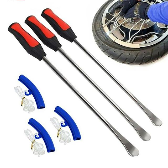 6pcs Tire Lever Tool Kit Tire Iron Changing Wheel Rim Protectors Tyre Spoon Lever Tools Rim Protector Sheaths For Motorcycle Car