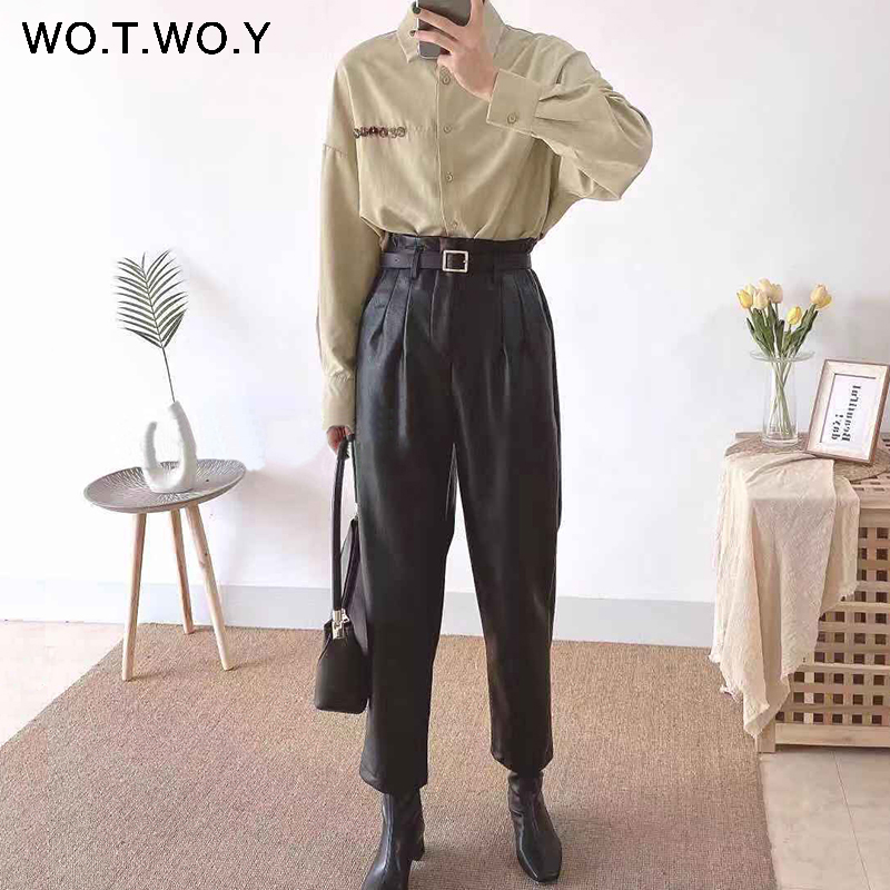 WOTWOY High Waist PU Leather Pants Women Pleated Loose Black Leather Trousers Women Straight Casual Leather Pants Pockets