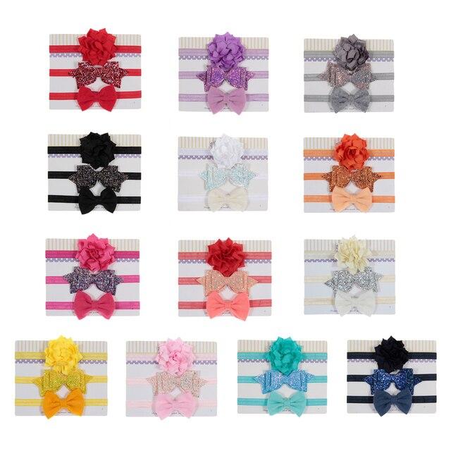 Girl's Bow Elastic Headbands 3 pcs Set 5