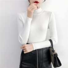 BEFORW 2019 Autumn Women lady sweater Solid Turtleneck sweater