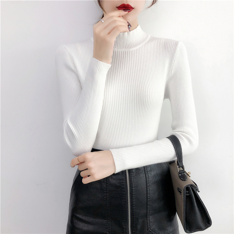 BEFORW 2019 Autumn Women Lady Sweater Solid Turtleneck Sweater Women Slim Sexy Tight Bottoming Knitted Casual Pullovers Top