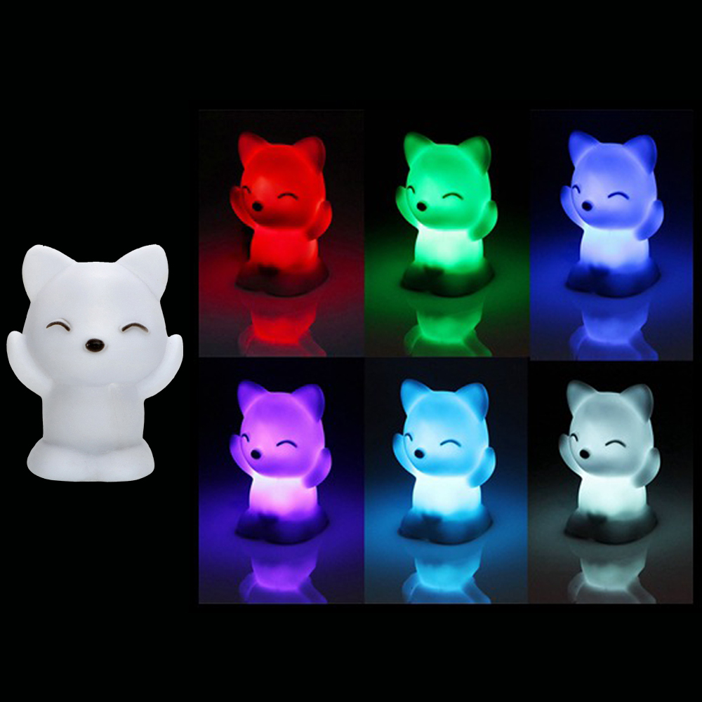 Kids 7 Changing Colors LED Toys Lovely Fox Shape Toys Bedroom Decoration For Baby Romantic Colorful Light Wedding Party Gift