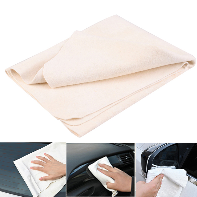 Car Towel Natural Chamois Leather Car Cleaning Cloth Genuine Leather Wash Suede Absorbent Quick Dry Towel Streak Free Lint 2