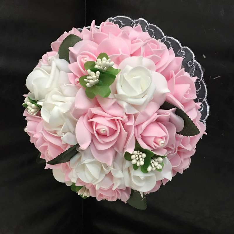 Tanpell Pink White Rose Wedding Bouquet  Handmade Pearl Silk  Decorating Bridal Bouquet Flowers 2019