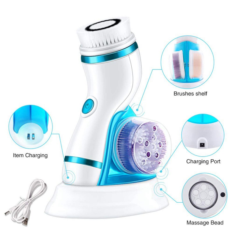 4 In 1 Ultrasonic USB Rechargeable Electric Facial Cleansing Brush Massager Pore Face Cleaning Device Brush New