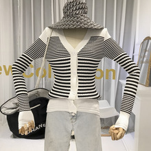 Cardigan Women Korean Sweater Striped Slim V-Neck High Street  Knit Sweater Women Female Cardigan  Fall Winter 2019 New Items high neck striped knit bodysuit