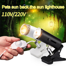 360° Adjustable UV Reptile lamp Kit with Clip-on Bulb Lamp Holder Thermometer Turtle Tortoises Lizards Basking Heat light