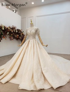Image 2 - Luxury Crystals Lace Ball Gowns Wedding Dresses for Women Saudi Arabian Elegant Princess Half Sleeves Beaded Bridal Gowns 2020