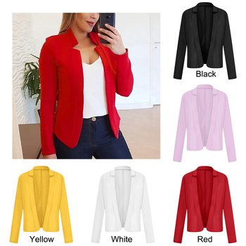 2020 Women Lapel Long Sleeve Suit Blazer For Office Ladies Solid Color Formal Jacket Coat formal lapel long sleeve one button design white blazer for women