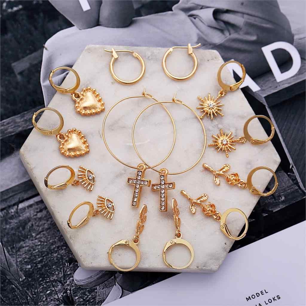 2020 mode Vintage boucles d'oreilles goutte ensemble géométrique rond croix amour coeur boucles d'oreilles pour les femmes suspendus pendaison boucle d'oreille bijoux femme