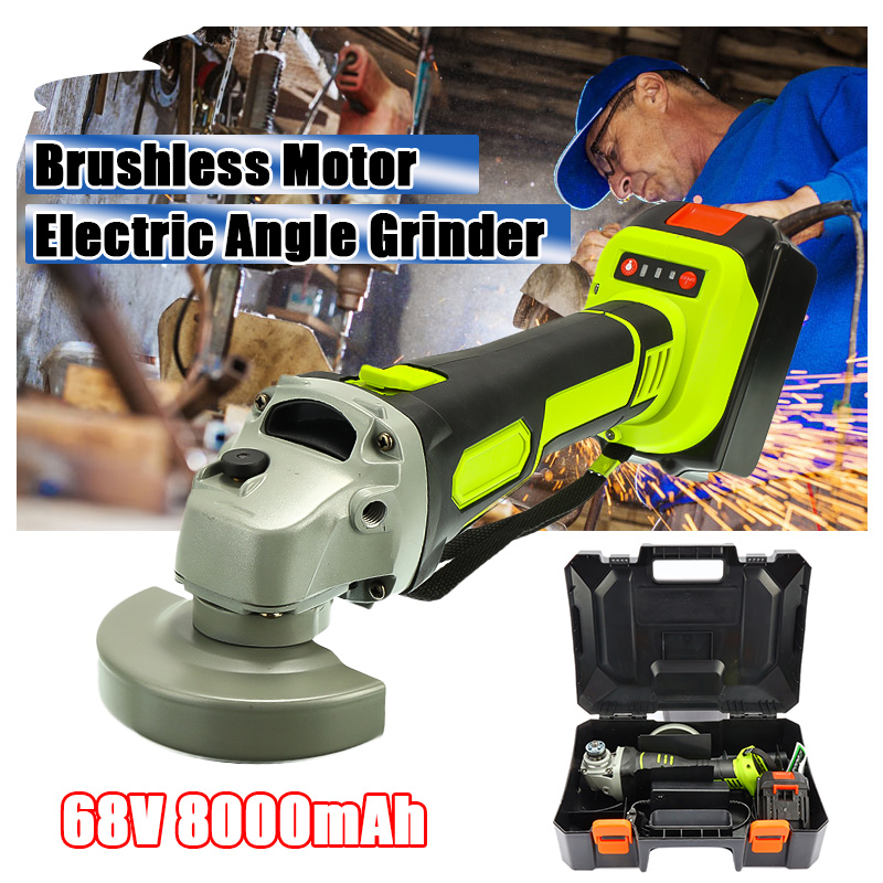 68V 3000rpm Cordless Angle Grinder Brushless Polisher Grinding Metal Cutter 8000mAh Lithium Ion Battery Rechargeable Power Tool