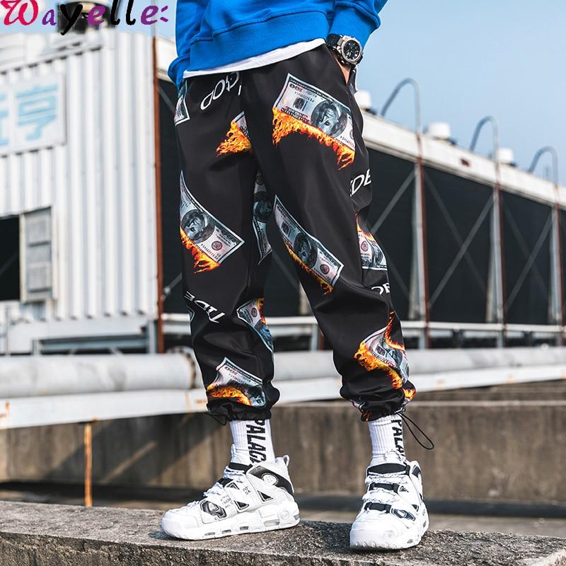 Men Harem Pant 2019 Autumn Loose Hip Hop Pant Men US Dollar Print Sweapants Men Japanese Streetwear Men Joggers Men Cargo Pant