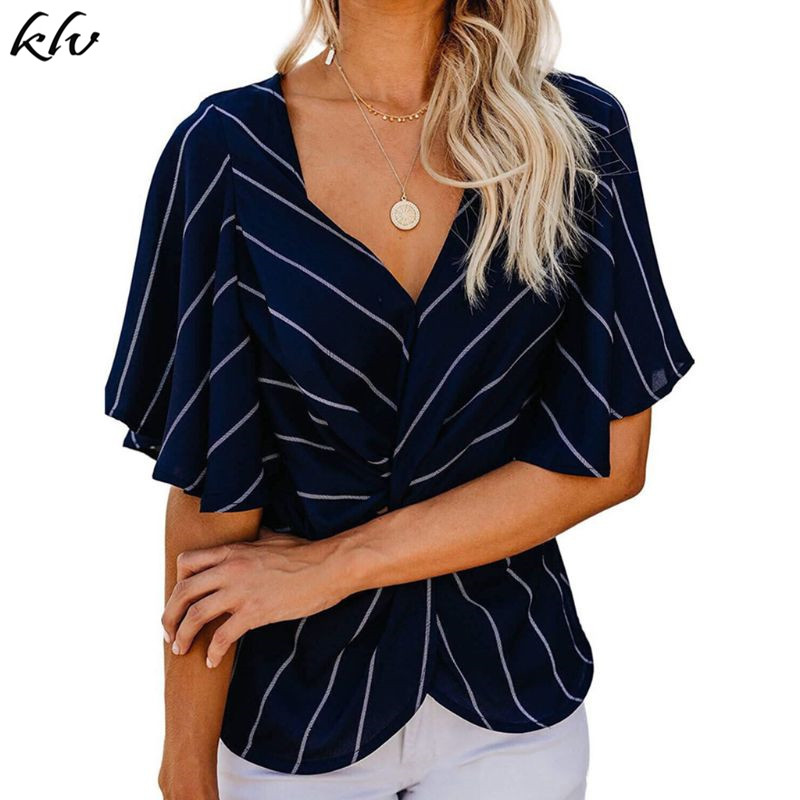 Women Short Batwing Sleeves Chiffon Tops Stripes Printed Ruched Twist Knotted Front Blouse Sexy V Neck Empire Waist Shirts in Blouses amp Shirts from Women 39 s Clothing