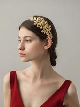 Greek Goddess Hair Vine Tiara Bridal Olive Crown Headband Gold Leaf Branch Headpiece Roman Wedding Jewelry Accessories.
