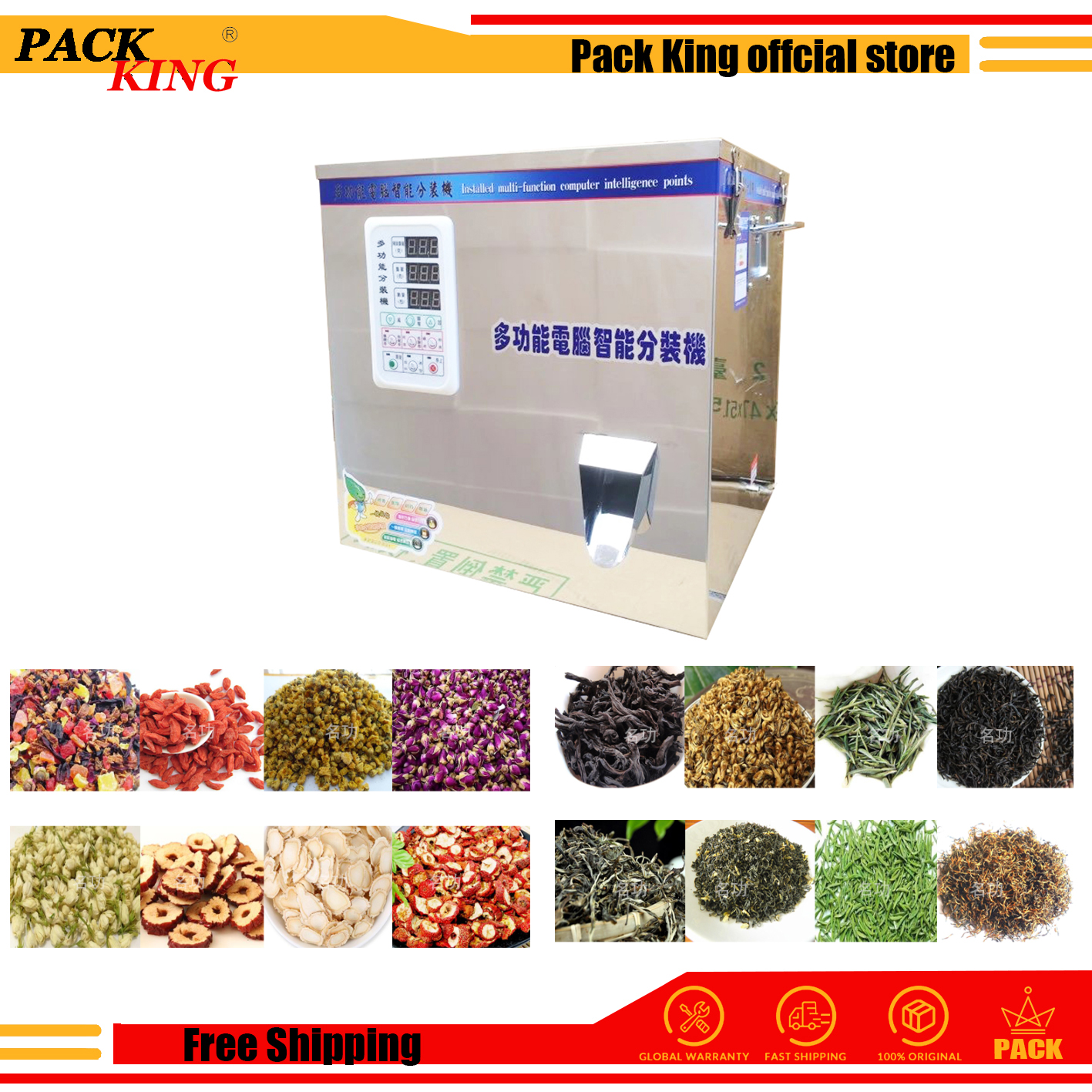 Auger Spiral Type Herb Filling And Weighing Machine White Green Black Tea Leaf Medicinal Materials Racking Tea Leaves Filler