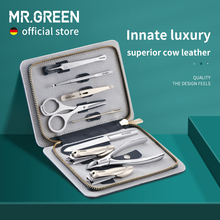 MR.GREEN Innate Luxury Manicure Set Surgical Grade Scissors Stainless nail clipper Kit full grain cow leather package Pedicure