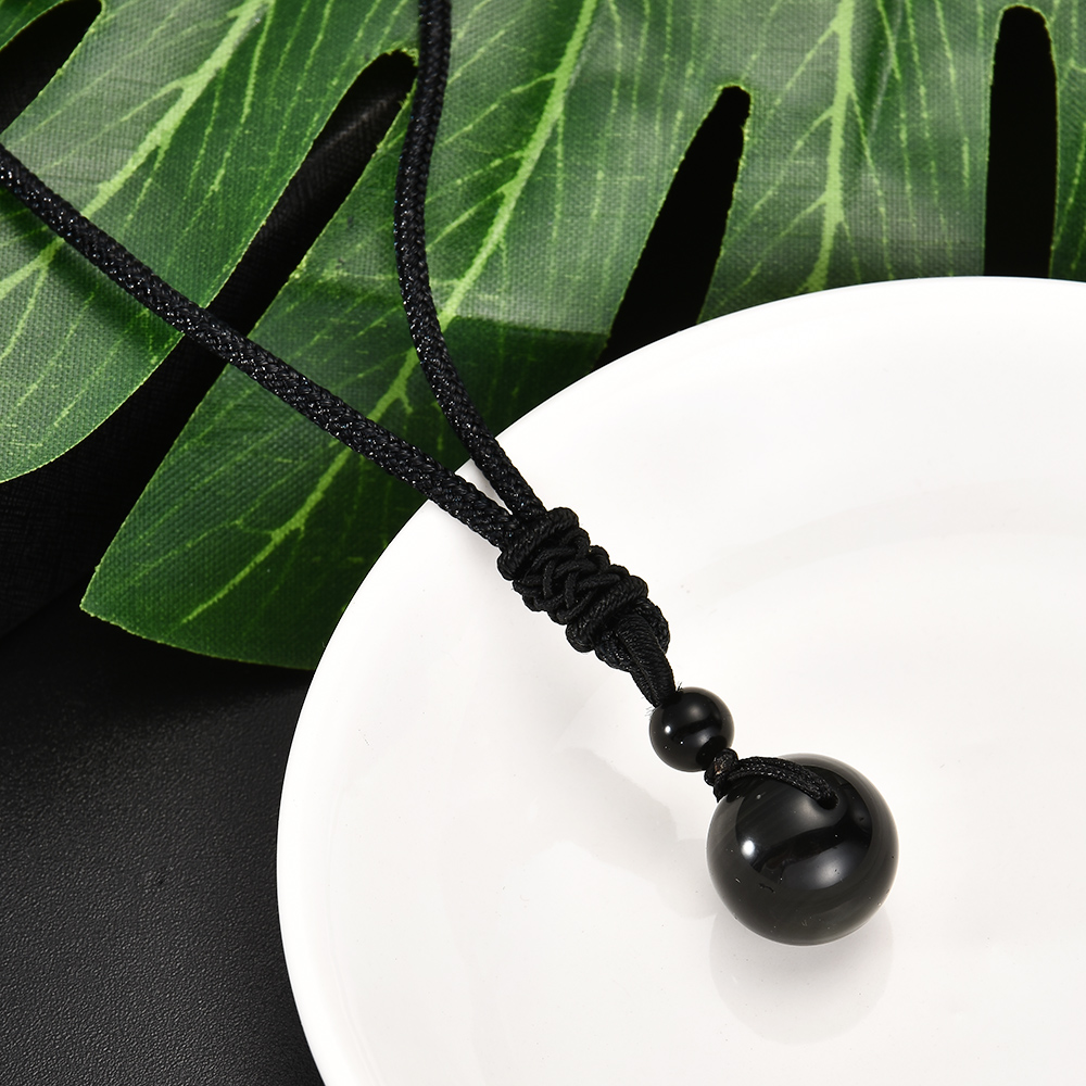 Unisex Mens Retro weaving Necklace Obsidian Stone Lucky Pendant Jewelry Gift